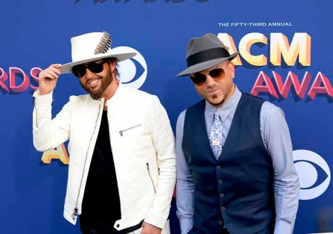 The 53rd Academy of Country Music Awards red carpet is held at the MGM Grand Garden Arena on the Las Vegas Strip. Here nominees for Vocal Duo of the Year and Vocal Group of the Year Preston Brust (l) and Chris Lucas of LOCASH walk the ACM red carpet. Sunday, April 15, 2018. CREDIT: Glenn Pinkerton/Las Vegas News Bureau