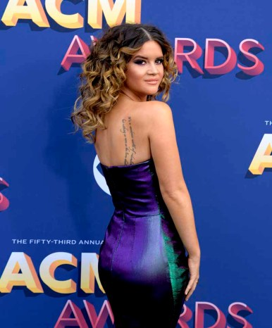 The 53rd Academy of Country Music Awards red carpet is held at the MGM Grand Garden Arena on the Las Vegas Strip. Here singer/songwriter and nominee for Female Vocalist of the Year and Vocal Event of the Year Maren Morris walks the ACM red carpet. Sunday, April 15, 2018. CREDIT: Glenn Pinkerton/Las Vegas News Bureau