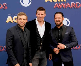 The 53rd Academy of Country Music Awards red carpet is held at the MGM Grand Garden Arena on the Las Vegas Strip. Here (l-r) Max Thieriot, David Boreanaz and AJ Buckley stars of the hit TV series SEAL Team walk the ACM red carpet. Sunday, April 15, 2018. CREDIT: Glenn Pinkerton/Las Vegas News Bureau
