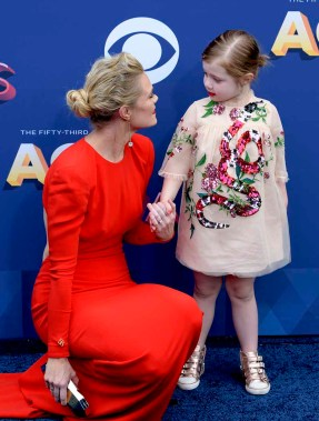 The 53rd Academy of Country Music Awards red carpet is held at the MGM Grand Garden Arena on the Las Vegas Strip. Here singer/songwriter and nominee Nicolle Galyon and daughter Charlie Jo walk the ACM red carpet. Sunday, April 15, 2018. CREDIT: Glenn Pinkerton/Las Vegas News Bureau