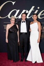 CANBERRA, AUSTRALIA - MARCH 27: Katie Noonan, Jerome Metzger of Cartier and Thandi Pheonix attend the Cartier: The Exhibition Black Tie Dinner at the National Gallery of Australia on March 27, 2018 in Canberra, Australia. (Photo by Cole Bennetts/Getty Images)