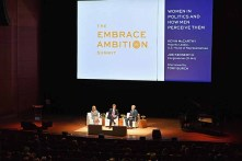 NEW YORK, NY - APRIL 24: (L-R) CEO, Tory Burch, and Founder, Tory Burch Foundation, Tory Burch, Representative Joe Kennedy III (D-MA), and House Majority Leader, Kevin McCarthy (R-CA) speak onstage during The Tory Burch Foundation 2018 Embrace Ambition Summit at Alice Tully Hall on April 24, 2018 in New York City. (Photo by Slaven Vlasic/Getty Images for Tory Burch Foundation) *** Local Caption *** Tory Burch; Joe Kennedy III; Kevin McCarthy