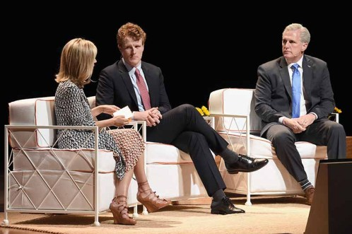 (L-R) CEO, Tory Burch, and Founder, Tory Burch Foundation, Tory Burch, Representative Joe Kennedy III (D-MA), and House Majority Leader, Kevin McCarthy (R-CA)