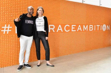 NEW YORK, NY - APRIL 24: Attendees pose wearing feminist t shirts during The Tory Burch Foundation 2018 Embrace Ambition Summit at Alice Tully Hall on April 24, 2018 in New York City. (Photo by Slaven Vlasic/Getty Images for Tory Burch Foundation)