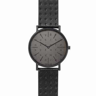 Skagen Signatur Slim Alphabet Black Leather Watch