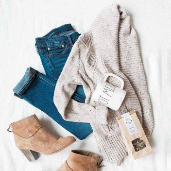 denim and sweater