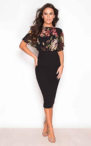 Autumn Batwing Floral Top Midi Dress in Black