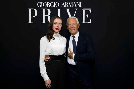 Bel Powley and Giorgio Armani_
