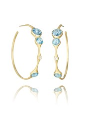 Yellow Gold Hoops with Blue Topaz and Diamonds, $2,495