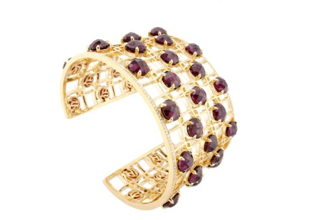 Yellow Gold cuff with Rhodolite and Diamonds,$50,000