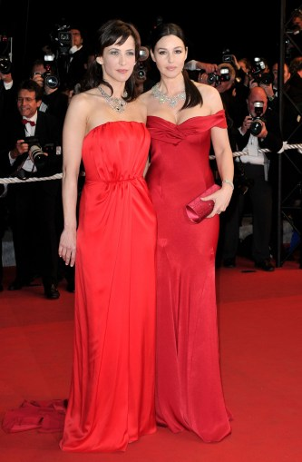 Monica Bellucci and Sophie Marceau in Yves Saint Laurent