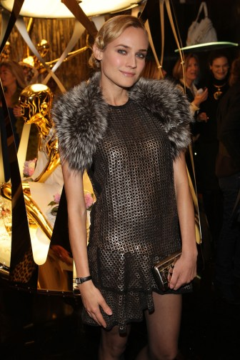 Diane Kruger, ambassador of Jaeger-LeCoultre, attends the Roberto Cavalli opening boutique party