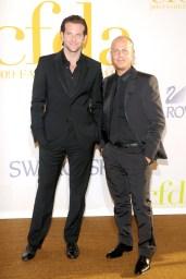 CFDA Winner Italo Zucchelli (left) and Bradley Cooper (wearing Calvin Klein)