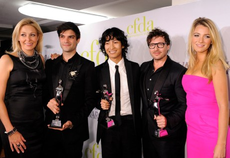 CFDA Fashion Awards underwriter Nadja Swarovski wearing Alexander McQueen with the Swarovski Award Winners Justin Giunta, Alexander Wang and Tim Hamilton with Blake Lively wearing Michael Kors. Photo Courtesy of Jennifer Graylock.
