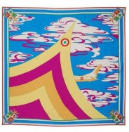 Vintage EMILIO PUCCI - A commemorative scarf from the 1960s printed with an oversized aeronautical design