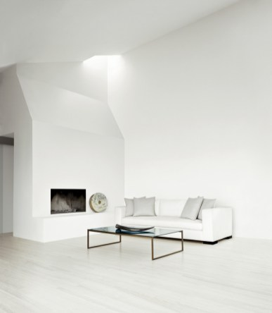 Calvin Klein Home Curator - tuxedo sofa smoked glass cocktail table