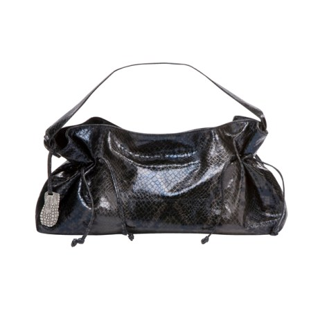 Small Faux-Snakeskin Satchel in Black, $29.99
