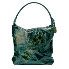 Large Faux-Snakeskin Collage Satchel in Green, $49.99