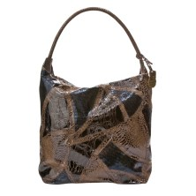 Large Faux-Snakeskin Collage Satchel in Brown, $49.99, Target.com only