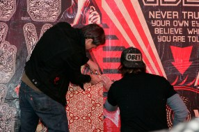 Shepard Fairey at Obey X Levi's Public Art Installation