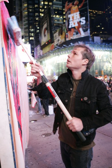 Shepard Fairey at Obey X Levi's(R) Public Art Installation