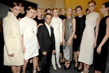 Francisco Costa backstage with models