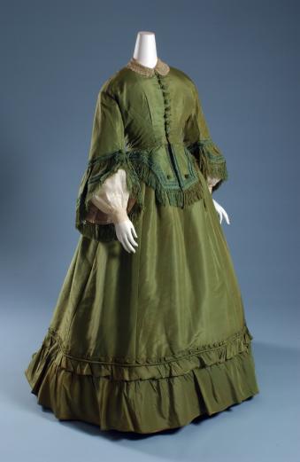 Day dress, green silk faille and green chenille, circa 1865