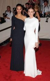 Diane Kruger and Zoe Saldana both in Calvin Klein Collection