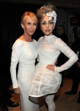 Lady Gaga (in Calvin Klein Collection) and Trudie Styler