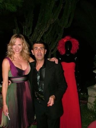 Capri - Lo stilista Michele Miglionico e l'attrice Antonella Stefanucci e la padrona di casa Avvocato Rosy Mauriello