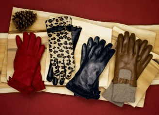 Double Ruffle Glove ($88); Tantivy Buckle Glove ($118); Double Ruffle Glove ($88); Knit Drive Glove ($98)
