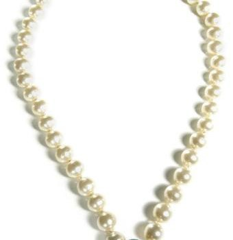 CHANEL Necklace with pearls and coloured pendant 1970's