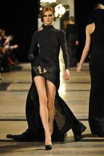 Black Crpe mull and silk satin organza Asymmetrical Sweater dress.
