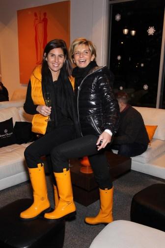 L-R Vanessa Kay Sabina Belli wearing DKNY Veuve Clicquot boots