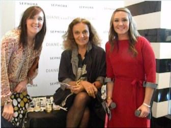 """Diane von Furstenberg autographs bottles of """"Diane"""", her new perfumes for her Dallas fans."""