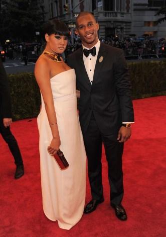 Elaina Watley (L) and NFL player Victor Cruz