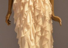Bill Blass Cocktail Dress 1981 Silk Georgette One Shoulder Bias Ruffles.