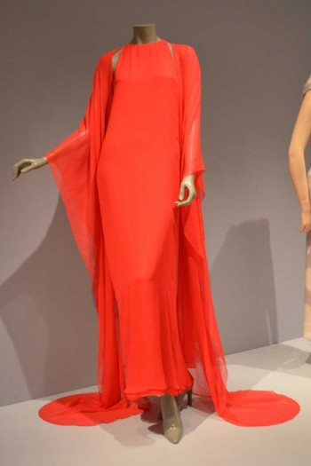 Halston Red Evening Dress with Stole Silk Chiffon