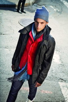 Indigo Chino, Cotton Cashmere Cardigan - Blue, Quilted Vest - Red, Waxed Parka - Black, Linen Ombre Scarf - Dutch Blue, Joshua Knit Hat