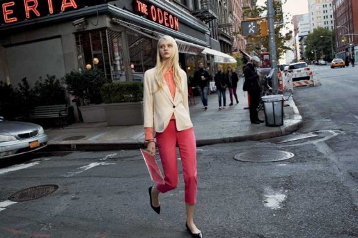 Olive Blazer, Cameron Shirt in Guava, Kelly Pant, Janet Clutch
