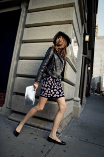 Davie Leather Moto Jacket, Cameron Shirt in Blossoms, Sue Sweater Skirt, Janet Clutch
