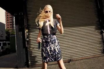 Bryce Shirt, Tamarrah Skirt, Daryl Purse – Mint-Navy
