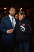 L-R) David Haye and Tom Hardy