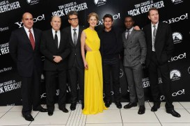 (L-R) Don Granger, Robert Duvall, Christopher McQuarrie, Rosamund Pike, Tom Cruise, David Oyelowo and Lee Child