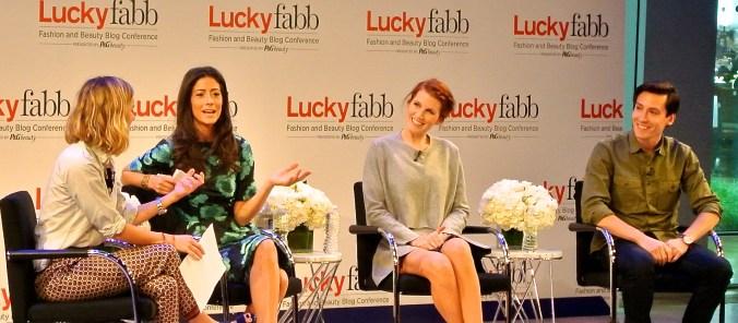 """Lindsey Calla, Amber Venz, Mattias Swenson, and Hayley Phelan at Lucky FABB 2013"""