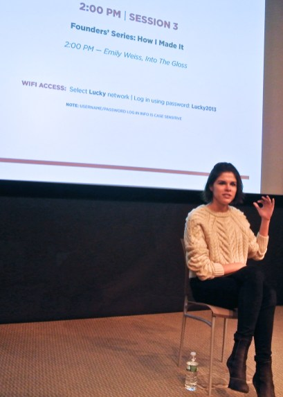 """Emily Weiss of Into The Gloss at Lucky FABB 2013"""