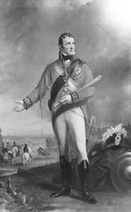 The Duke of Wellington said to be wearing in this painting the boots of his own design, the Wellington