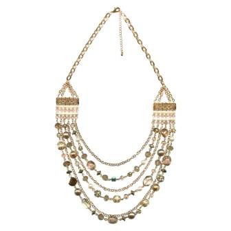 Women's Multi-Row Chain and Beaded Necklace, Gold/Multi, $29.99