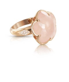 Bague Collection BON TON or rose dimants et quartz rose