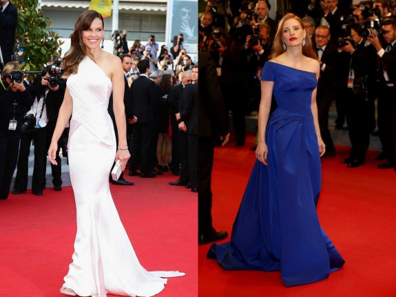hilary swank jessica chastain versace cannes 2014
